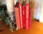 Vintage Red Book collection, Gold Lettering, home decor, weddings, props, photo shoot- REDUCED.