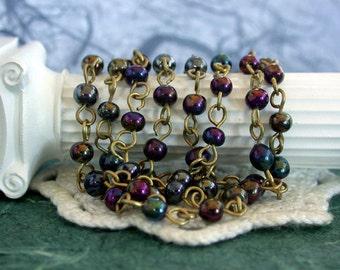 Beaded Chain, Glass Bead Chain, Chain, Brass Chain, Bead Chain, Rosary Chain, Jewelry Chain CHN-022