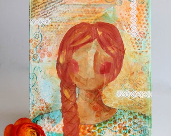 Portrait of a Young Woman, Mixed Media Painting, Original Artwork on 8 x 10 Canvas Board, Acrylic Painting, Orange and Turquoise Home Decor