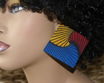 Large Stud Earrings - Fabric Covered Wood Earrings