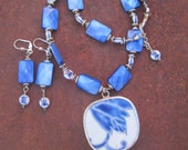 Double Happiness Symbol Beaded Blue Spirituality Chinese Pottery Pendant Necklace and Earring Set