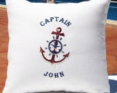Seaside Inspired Personalized Embroidered Nautical Captain Pillow Cover  -Going Coastal- 100% Linen  Birthday Boat Gift