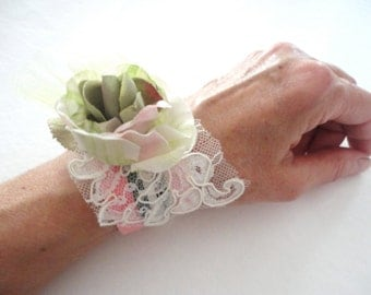 Pink and Green Flower Cuff, Lacy Rose Bracelet, Fabric Flower Cuff Bracelet, Ribbon Bracelet, Gift for Her, Mori Girl, Shabby Chic
