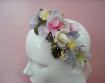 Flower Crown Hair Wreath, Bridal Head Wreath, Lana Del Rey, Floral Fascinator, Fairy Flower Head Band, Wedding Crown