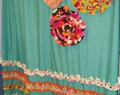 Shower Curtain Custom Made Designer Fabric Ruffles Flowers Aqua, Teal, Turquise, Pink, Orange, Brown, Yellow, Dots, Circles, Stripes Funky