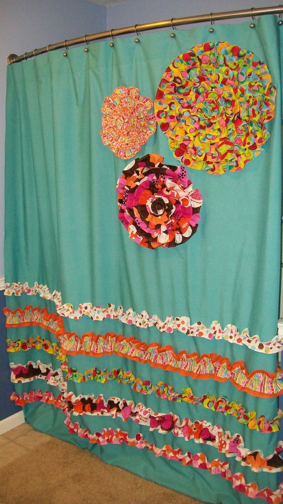 Items Similar To Shower Curtain Custom Made Designer Fabric Ruffles Flowers A