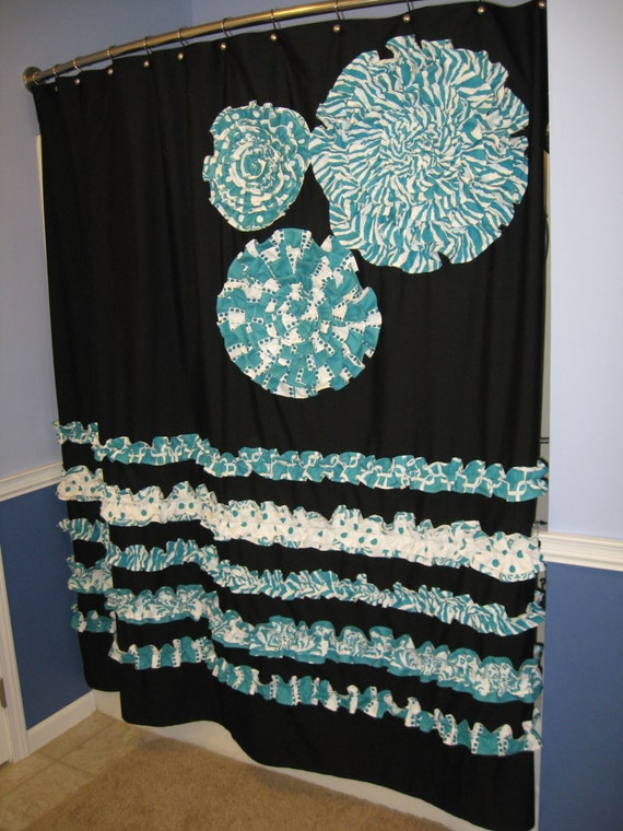 turquoise and black shower curtain. Items similar to Shower Curtain Custom Made Fabric Ruffles Flowers Zebra  Aqua Teal Turquoise Black White Animal Print Stripes Dots Damask Chevron Cheetah on
