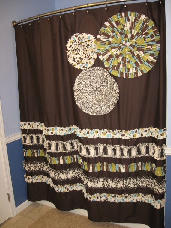 Items Similar To Shower Curtain Custom Made Designer Fabric Ruffles And Flowe