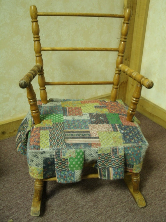 items similar to vintage child 39 s rocking chair patchwork seat on etsy. Black Bedroom Furniture Sets. Home Design Ideas
