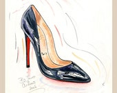 Fine art SHOE PRINT of Christian Louboutin Pigalle shoes painting
