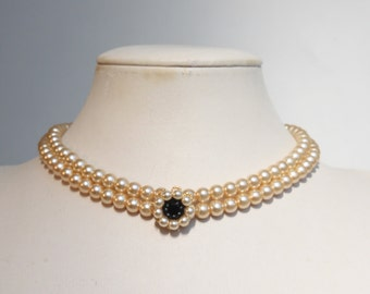 Bridal Necklace Onyx Wedding necklace Onyx And Pearls Jewelry Bridal multi strand Choker Statement Necklace Vintage Style Bridal Choker 1920