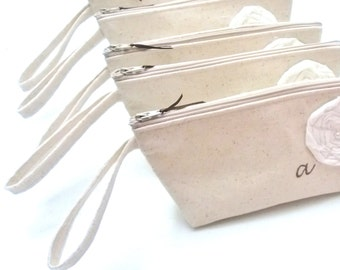 Bridesmaid wristlet, Bridesmaid Clutch with straps, Bridesmaid Gift, Wedding Clutch, Customizable- Set of 5