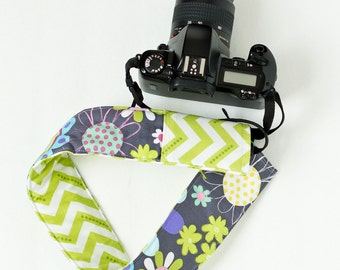 DSLR camera strap cover with lens cap pocket.  modern flowers with lime chevron.