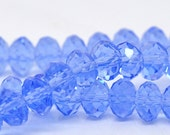 SALE 72 Blue Rondelle Beads - Crystal Glass - Faceted - 8x6mm - 1 Strand - Ships IMMEDIATELY from California - B503