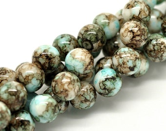 400 Mottled Beads - WHOLESALE - 10mm Brown and Blue -  5 Strands  - Ships IMMEDIATELY from California - B432a