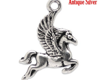 8 Silver Horse Charms - 16x20mm- Ships Immediately from California - SC565