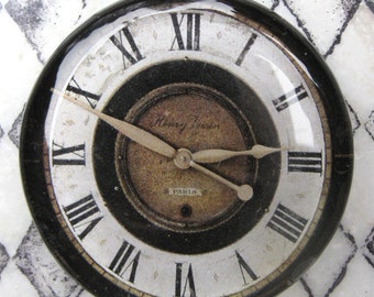 """Vintage Clock Clock Face Shabby White Black Industrial Cottage Home Decor Glass Paperweight Gift For Him 2 3/8"""" diameter,"""
