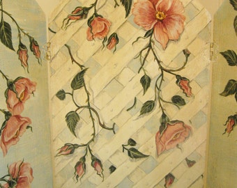 Pink Roses Painting Triptych Shabby Pink Roses Victorian Cottage Original Art Three Panel Folding Tabletop Screen Display Prop OOAK