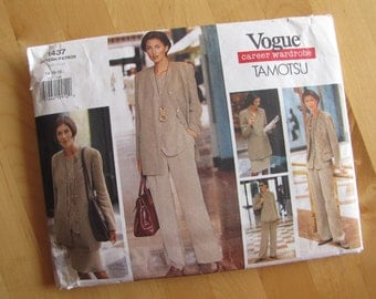 Uncut Vogue Sewing Pattern 1437 - Tamotsu - Jacket, Top, Skirt - Size 14 - 18