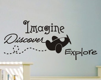 Baby Boy Nursery Wall Decal Wall Decor Boys Bedroom Wall Sticker Vinyl Lettering Wall Decal Quote Airplane Imagine Discover Explore