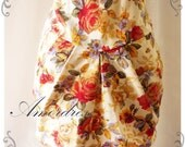 My Floral Skirt - Tangerine Rose Floral Cream Mini Skirt Size XS-S