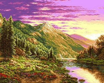 Instant Download Counted Cross Stitch Chart PDF Pattern N45ld - Mountain Landscape
