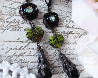 Rusty Black Dangles with Czech Glass Leaf, Black Rose and Crystal