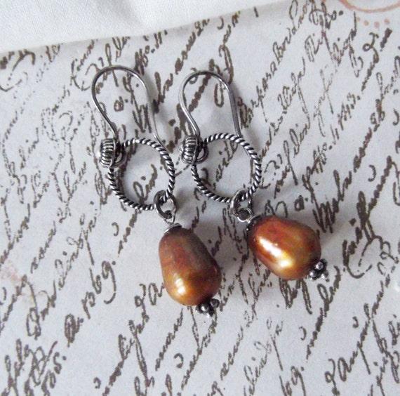 Sterling Silver, Copper Pearl Dangle Earrings