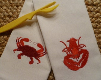 Set of FOUR - CHOICE of Lobster or Crab Set of 4 Cloth Cotton Embroidered Dinner Napkins- SEAFOOD