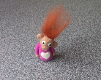 Miniature monkey pixie needle felted fantasy soft sculpture gift idea under 25