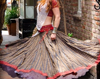 Indian Ikat Ethnic Gopi Skirt Great for Belly Dancing