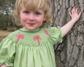 Handsmocked Infant Toddler Green Gingham Bishop Dress with Pink Palmetto trees