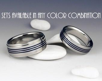Titanium Wedding Band Set - Anniversary Ring Set - Three Centered Blue Pinstripes - Stepped Down Edges