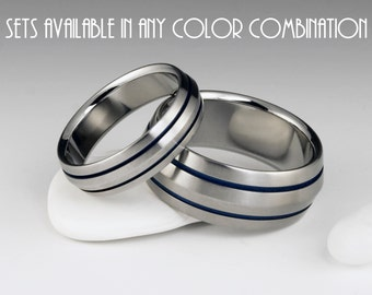 Titanium Ring Unique Wedding Band Set, Engagement, Promise or Anniversary Set with Peaked Profiles and Two Pinstripes on Either Side