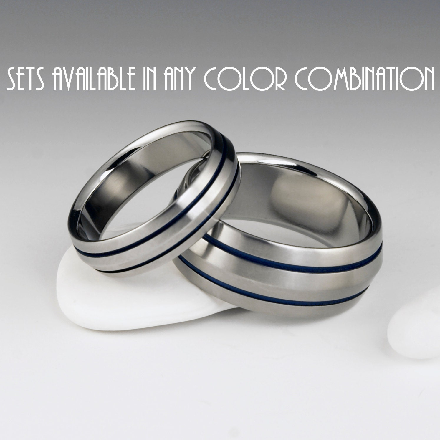 Unique Wedding Band Sets: Titanium Ring Unique Wedding Band Set Engagement Promise Or