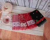 Dollhouse Miniature Shabby Chic Kitchen Fringed Tea Towels Set of 4 Red and Black Cherries and Lace