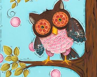 Owl Wall Art ~ Childrens Wall Art ~ Girls Nursery Wall Art ~ Owl Decor Art Print ~ Girls Bedroom Decor ~ Funky Whimsical Owl ~ baby nursery