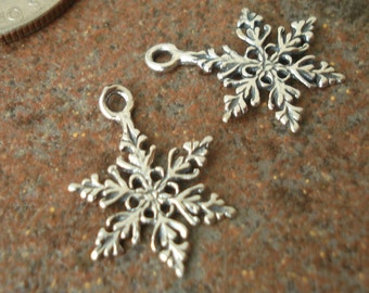 Sterling Silver Snowflake Charms, pkg of 2