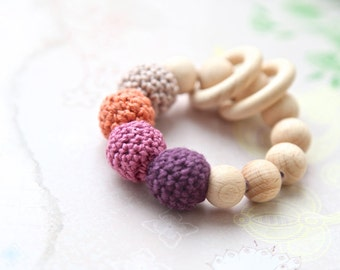 Rosy brown, cooper rose, eggplant, berry teething ring toy with crochet wooden beads. Rattle for baby.
