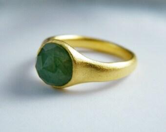 Green Aventurine ring Aventurine ring Gemstone ring  Aventurine gold ring