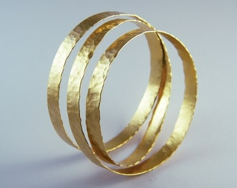 Chunky gold bracelet hammered statement bangle Wide bangle bracelet