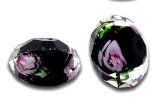 Faceted, Lampwork, Beads, Black, Pink, Roses,  4pcs, 12mm x 8mm, Glass, Crystal, Rondelle