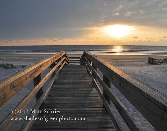 "Ocean City NJ Art  - Fine Art Photograph Print - ""Ready For My Walk"" Sunrise Sand Shore"
