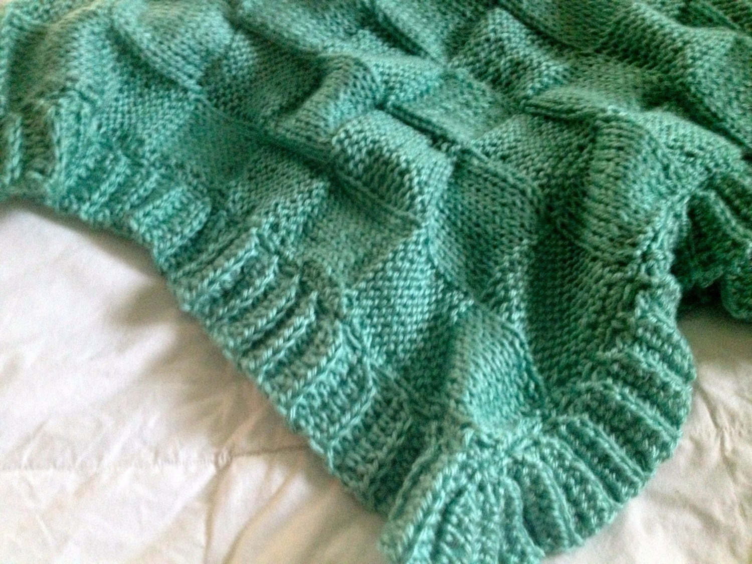 Hand Knitting Patterns For Babies : Hand knit Baby Blanket in Block pattern with hand crocheted