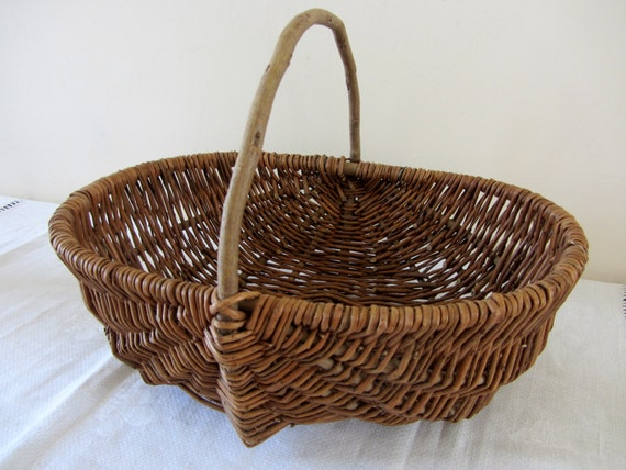 "Antique French Vintage Wicker Hand Crafted, Market/ Gathering Basket- 20% Reduction with coupon code ""BASKET"" until 5th July"