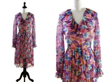 Vintage 1970's Sheer Floral Dress
