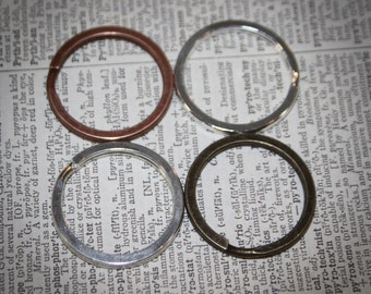6  Large Key rings Split ring  30 mm Shiny Silver, Bronze, Antique Copper 1 1/4 inch
