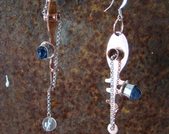"Handmade, One-of-a-Kind, Copper, Sterling, Iolite and Earrings of Legend...""Spindles of Ananke"" Earrings"