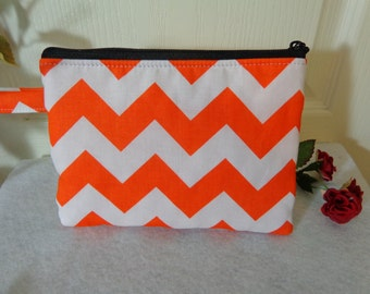 Makeup Bag: Chevron Orange