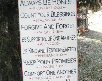 home decor, primitive country sign ,Family Rules Sign, scripture rules, inspirational sign, wood sign, primitive sign, wedding gift